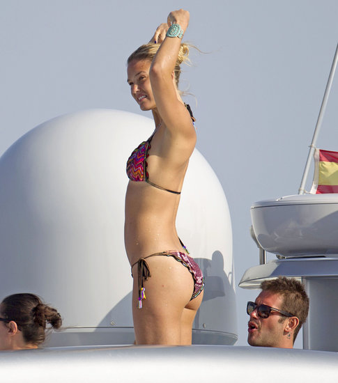 Bar Refaeli showed off her toned figure in a printed bikini.