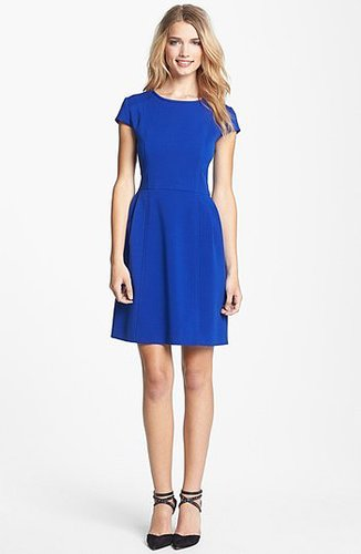 Eliza J Seamed Double Knit Crepe Fit & Flare Dress