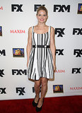 Morrison also wore stripes — black-and-white vertical ones, to be exact — at a party hosted by Maxim, FX, and Fox Home Entertainment.