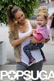 Jessica Alba gave her daughter, Haven, a tickle on the way to brunch in LA on Sunday.