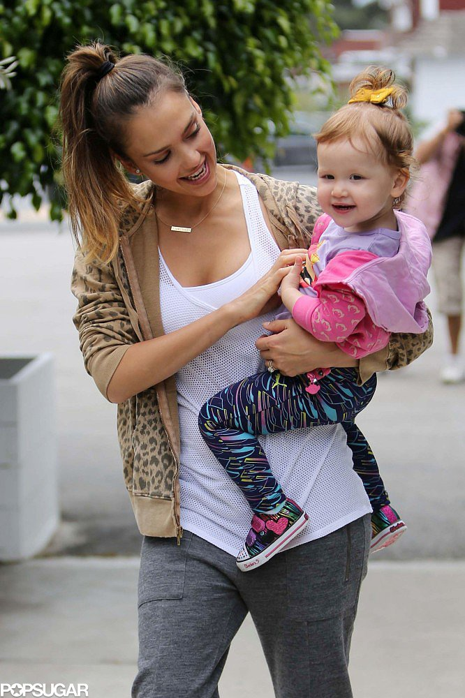 Jessica Alba gave her daughter Haven a tickle on the way to brunch in LA.