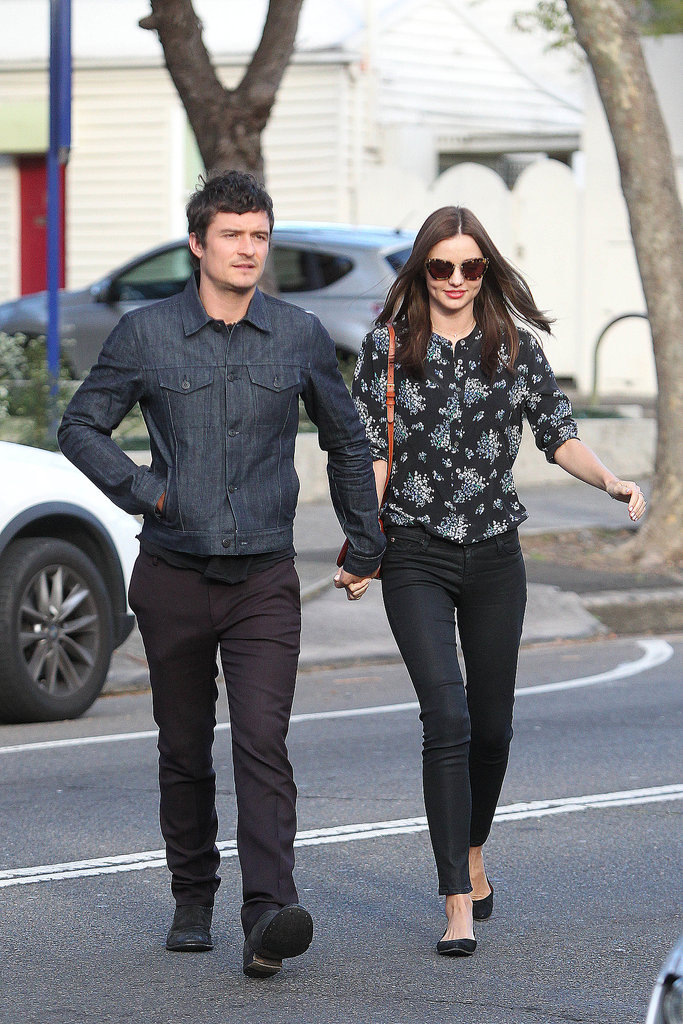 Orlando and Miranda held hands after lunch at Chiswick in Sydney in Aug. 2012.