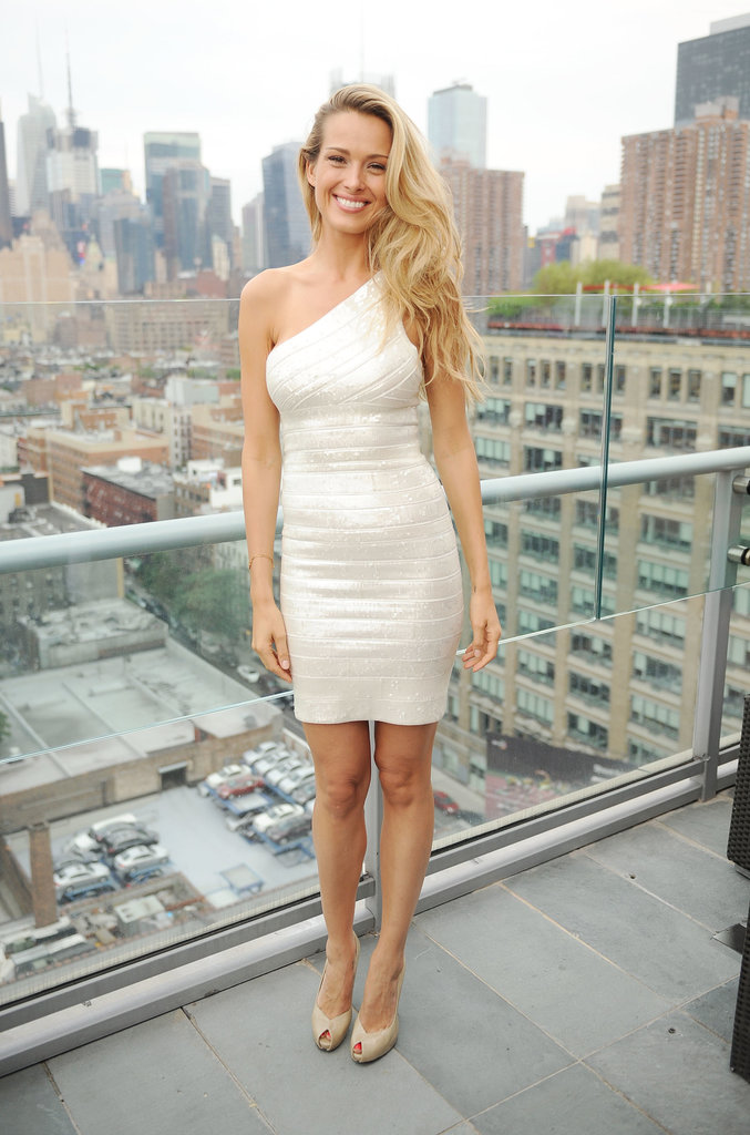 At the Samuelsohn Brand 90th Anniversary bash, Petra Nemcova took in the Manhattan skyline in a metallic bandage dress.