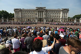 Crowds gathered outside Buckingham Palace to await the official announcement about the royal baby.