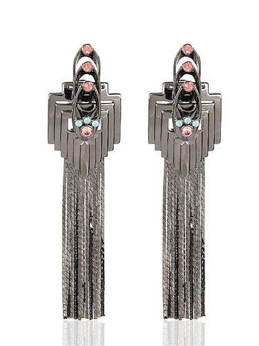 Deco Glam Triangle Earrings