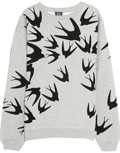 McQ Alexander McQueen Bird-flocked cotton sweatshirt