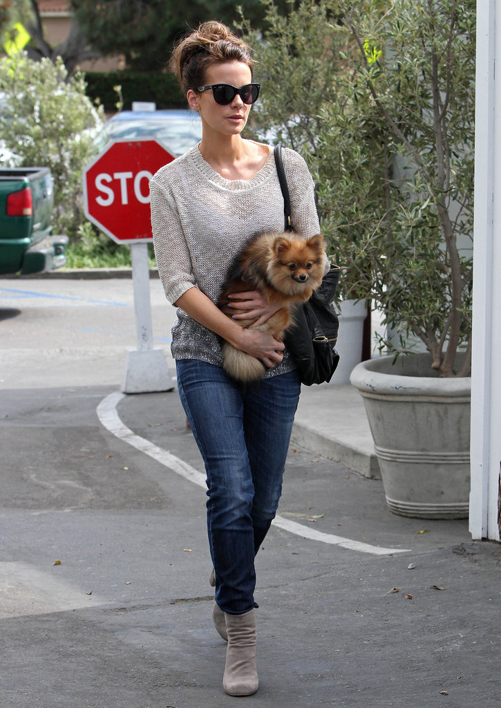 Toting a sweet furry companion, Kate worked a simple and stylish pairing in April 2013.