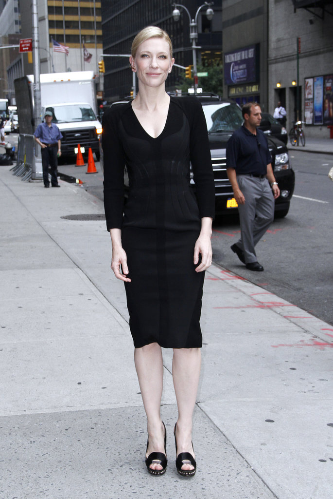 Cate Blanchett made her way into David Letterman's studio in Altuzarra's minimalist black.