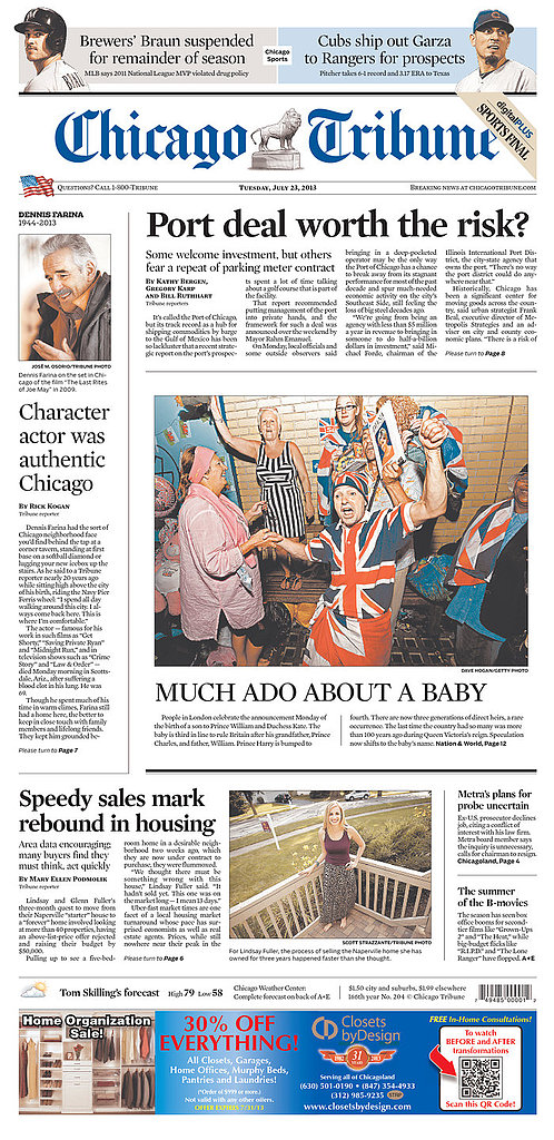 The front page of Chicago Tribune on July 23.