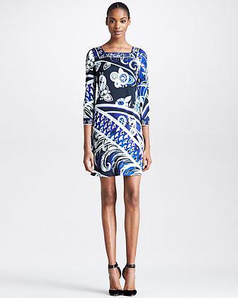 Emilio Pucci Square-Neck Printed Dress