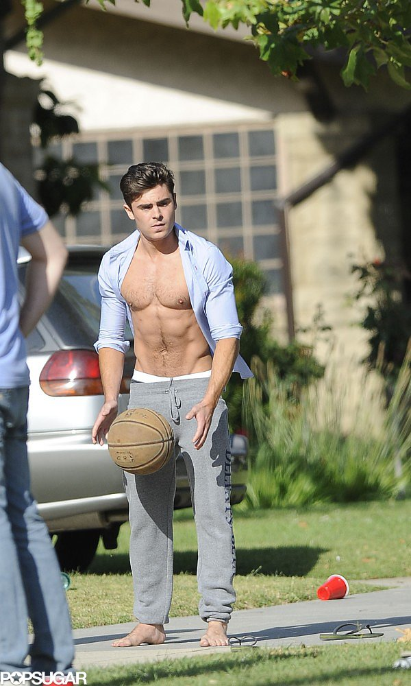 Zac Efron showed skin while filming Neighbors in LA in May 2013.