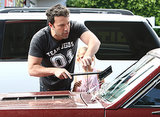Ben Affleck gave Violet pointers on how to clean a windshield.