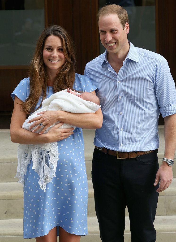The Duke and Duchess of Cambridge smiled with the royal baby as they left the hospital.