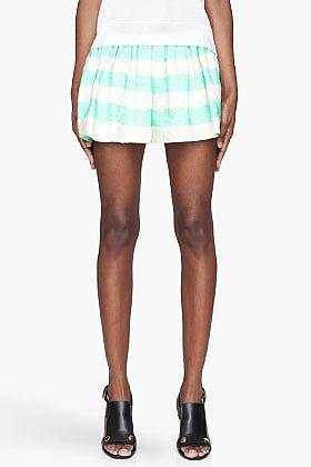 THAKOON Mint green jacquard Full Shorts