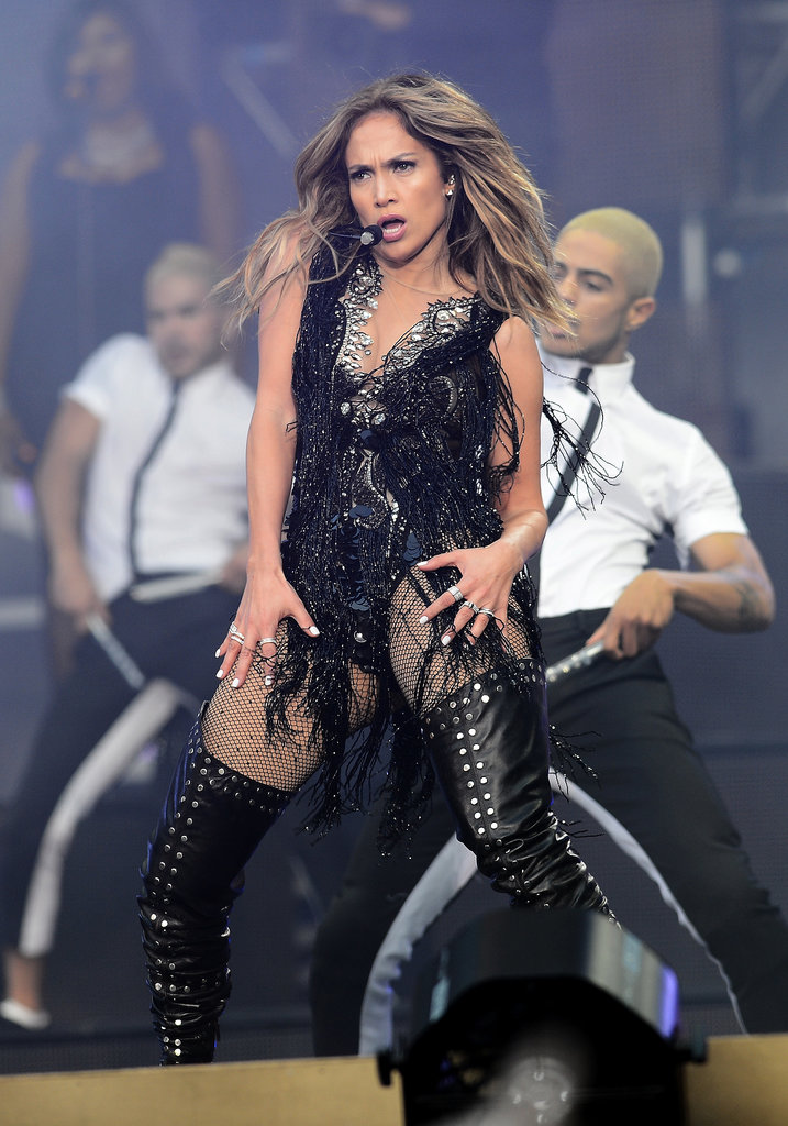 Jennifer Lopez sported a slick black costume for a performance at the Chime for Change: The Sound of Change Live concert in London in June 2013.