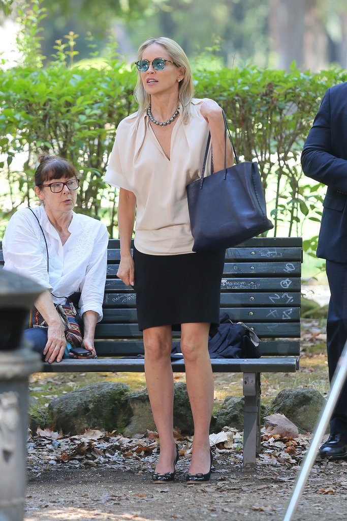 Sharon Stone was on set in Rome for Un Ragazzo d'Oro on Monday.