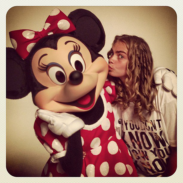 Cara Delevingne posed with Minnie Mouse on the set of a Disney-themed photo shoot for Love magazine. Source: Instagram user caradelevingne