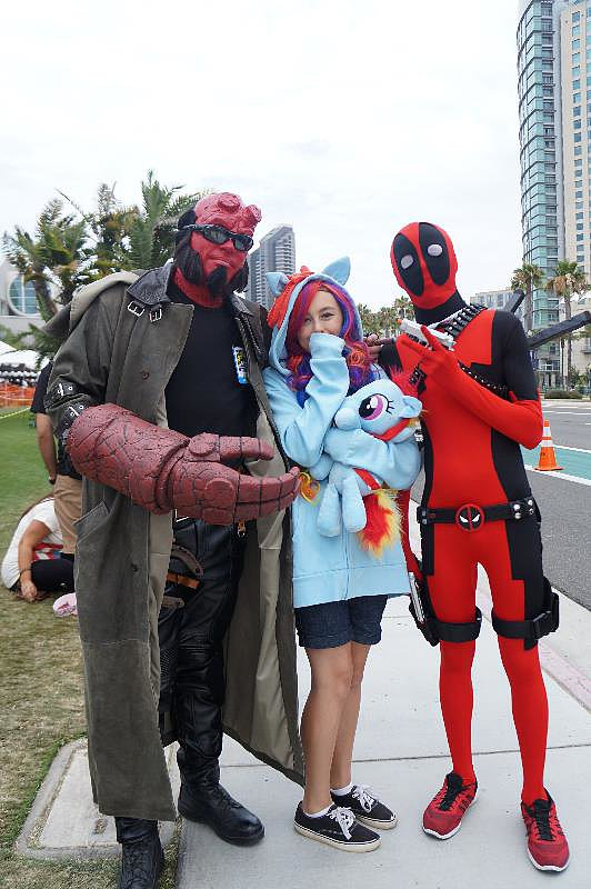 Hellboy, Rainbow Dash, and Deadpool