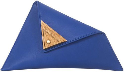 Blue Large Asymmetric Clutch Bag