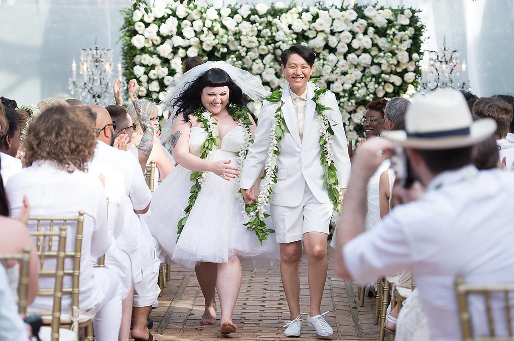 Beth Ditto married Kristin Ogata in July 2013 on the island of Maui in Hawaii. She wore a John Paul Gaultier dress. Source: Facebook user Gossip