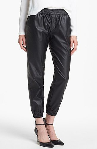 Piper Faux Leather Track Pants Womens Black Size Medium Medium