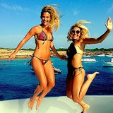 Bar Refaeli and a friend jumped for the camera. Source: Instagram user barrefaeli