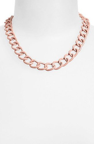 Topshop Curb Chain Necklace Pastel Pink