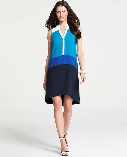 Colorblocked Sleeveless Shirtdress
