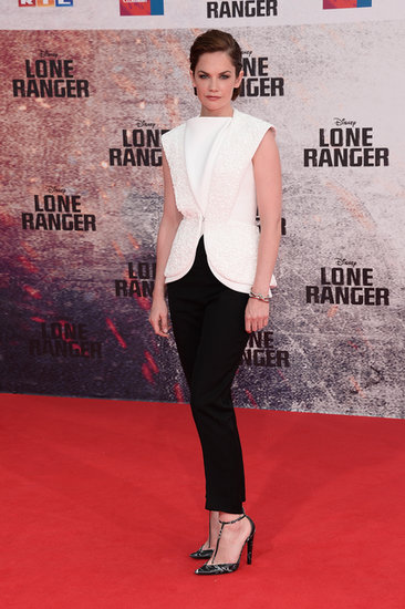 At the Lone Ranger Berlin premiere, Ruth Wilson was futuristic in a white textured vest and black cropped trousers, Alexander Wang creations for the house of Balenciaga.