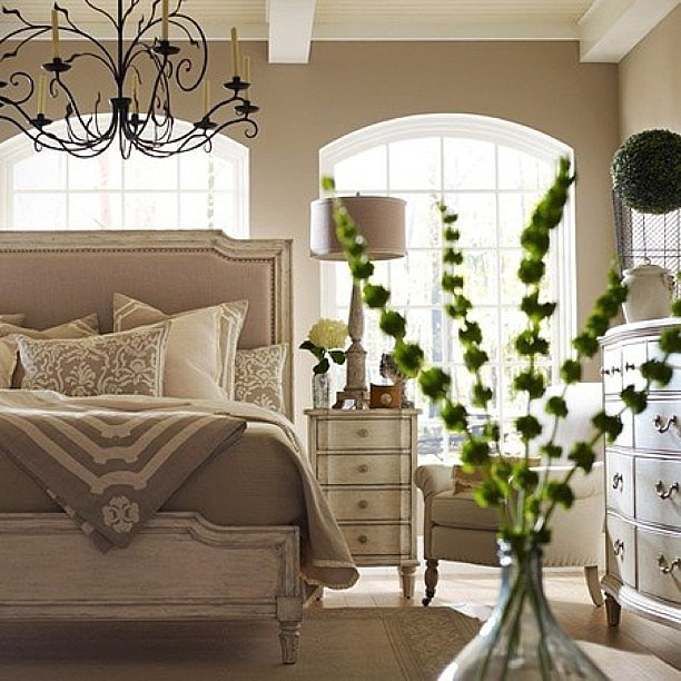 If hanging something on the wall above your bed isn't an option, then try anchoring the area with a beautiful pendant instead. Tip: add a dimmer so that you can control the softness or brightness of the light.  Source: Instagram user cottagechicuae