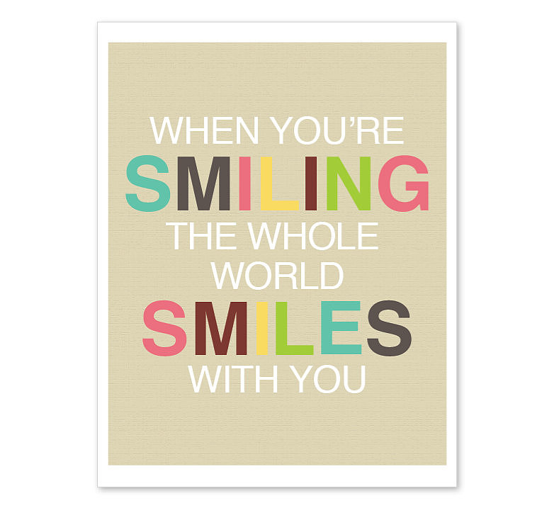 How can you not help but smile when you see this colorful print ($18)?