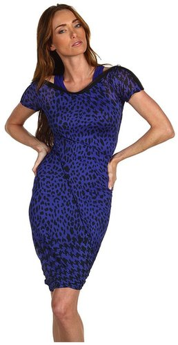 McQ - Zip Neck Dress (Electric Blue/Black) - Apparel