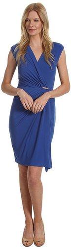 MICHAEL Michael Kors - MJ Cap Sleeve Wrap Dress (Urban Blue) - Apparel