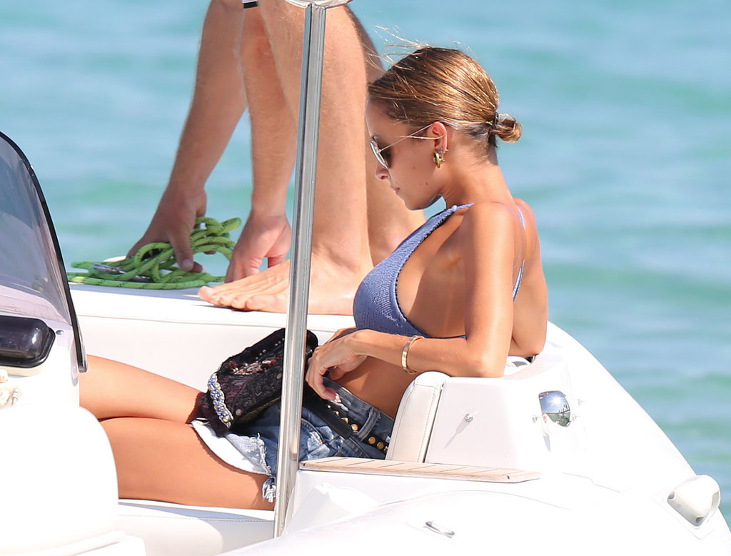 Nicole Richie lounged on a boat in Saint-Tropez.