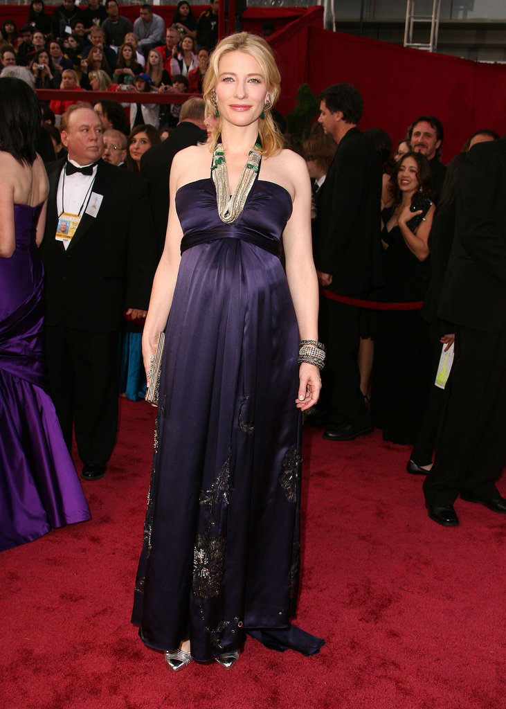 In Cate's world, being pregnant doesn't stop her from looking flawless on the red carpet. At the 2008 Oscars, the actress donned a Dries Van Noten purple gown with tons of statement jewels.