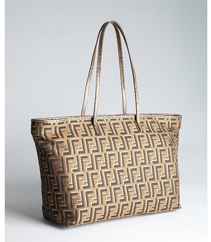 Fendi brown and silver zucca canvas and leather 'Roll' shopper tote