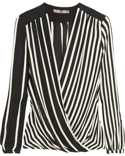 Halston Heritage Striped silk-georgette top