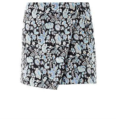 MSGM Floral-brocade wrap skirt