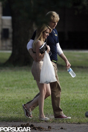 Emma Roberts and Evan Peters showed PDA while walking around the set.