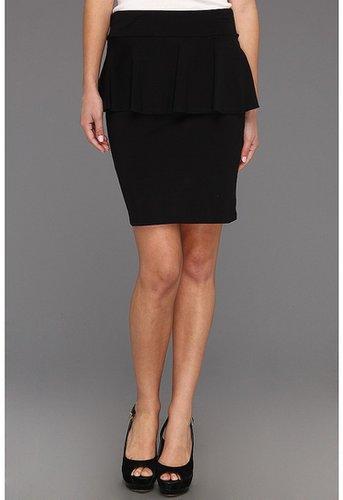 kensie - Lightweight Cotton Spandex Peplum Skirt (Black) - Apparel