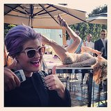 Kelly Osbourne posed in front of the drag entertainment. Source: Instagram user georgekotsi