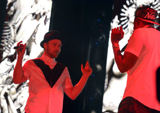 Jay Z and Justin Timberlake took the stage at the Rose Bowl.