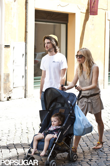 Sienna Miller, Tom Sturridge, and Marlowe took a stroll around Rome.