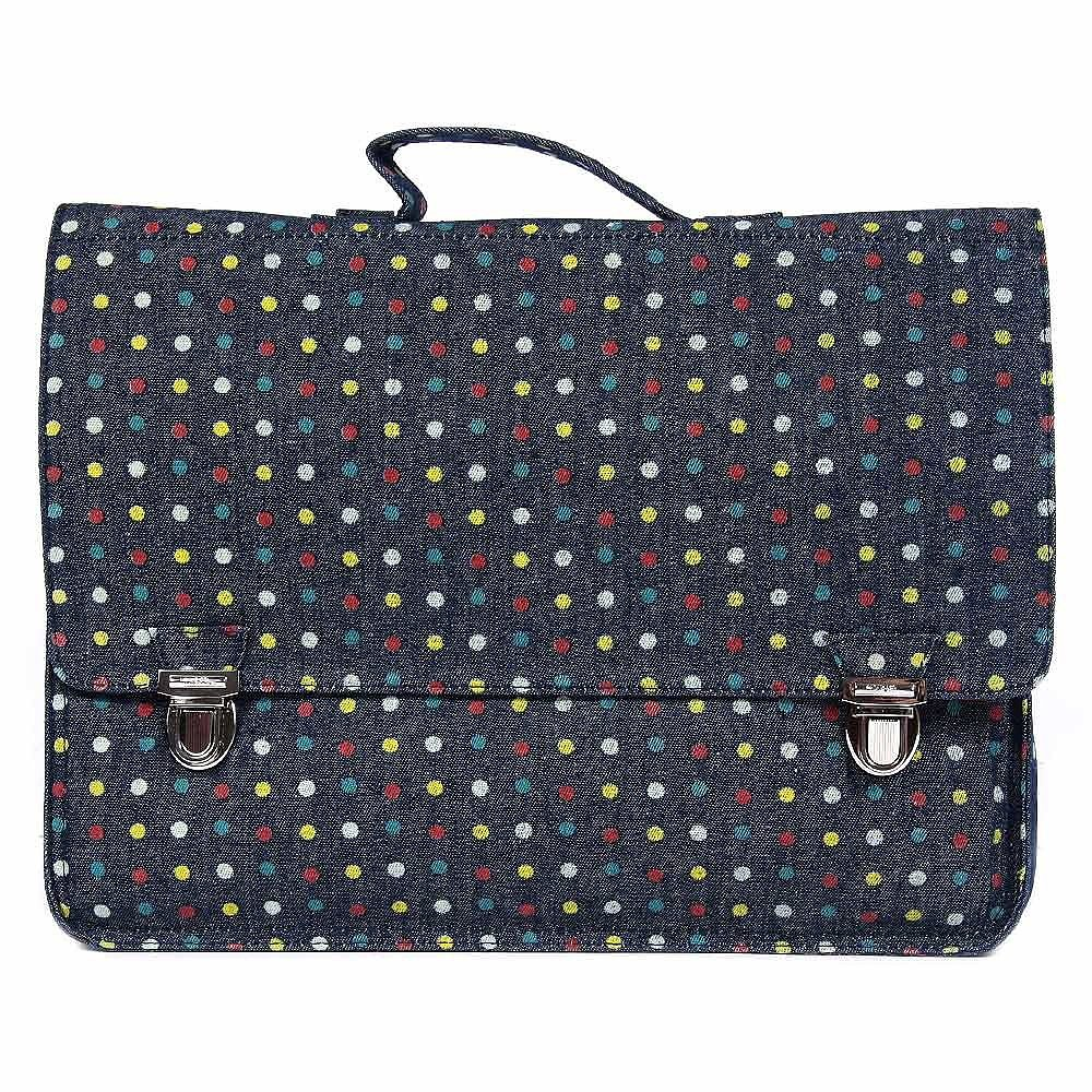 Miniseri Polka Dot Denim School Bag