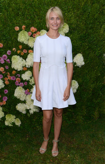 Cameron Diaz was angelic in her little white dress and ankle-strap sandals at a Rag & Bone Summer dinner in East Hampton.