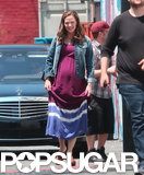 Jennifer Garner sported a fake baby bump on her Imagine set in LA.