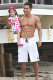 Mario Lopez hit the beach on Sunday with his daughter, Gia, in Malibu, CA.