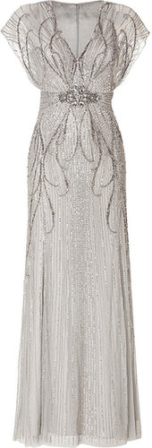 Jenny Packham Sequin Embellished Gown in Platinum