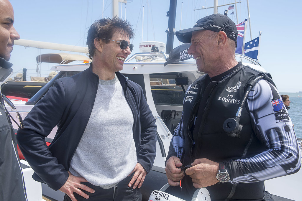 Tom Cruise spoke with a member of Emirates Team New Zealand in San Francisco. Source: Chris Cameron/Emirates Team New Zealand