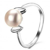 AAA 925 sterling silver inlaid natural pearl ring 13 size